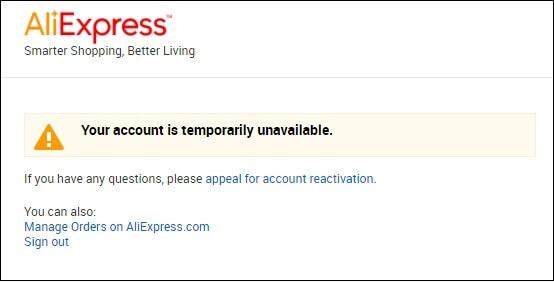 ваш аккаунт заблокирован алиэкспресс
